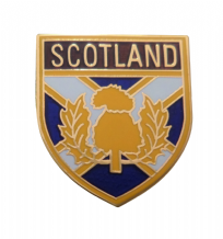 Scotland St Andrew's Saltire & Thistle Shield Pin Badge (T1290)